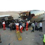 ۱ کشته و ۲۰ مصدوم در تصادف اتوبوس مشهد-بیرجند و کامیون در محور گناباد- تربت حیدریه؛
